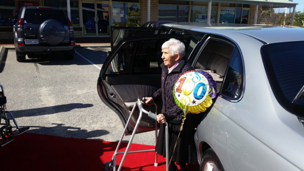 Limos Perth helped (just a little) this lovely lively alert lady to celebrate 100 years in style with family (but not too many friends as we can understand.