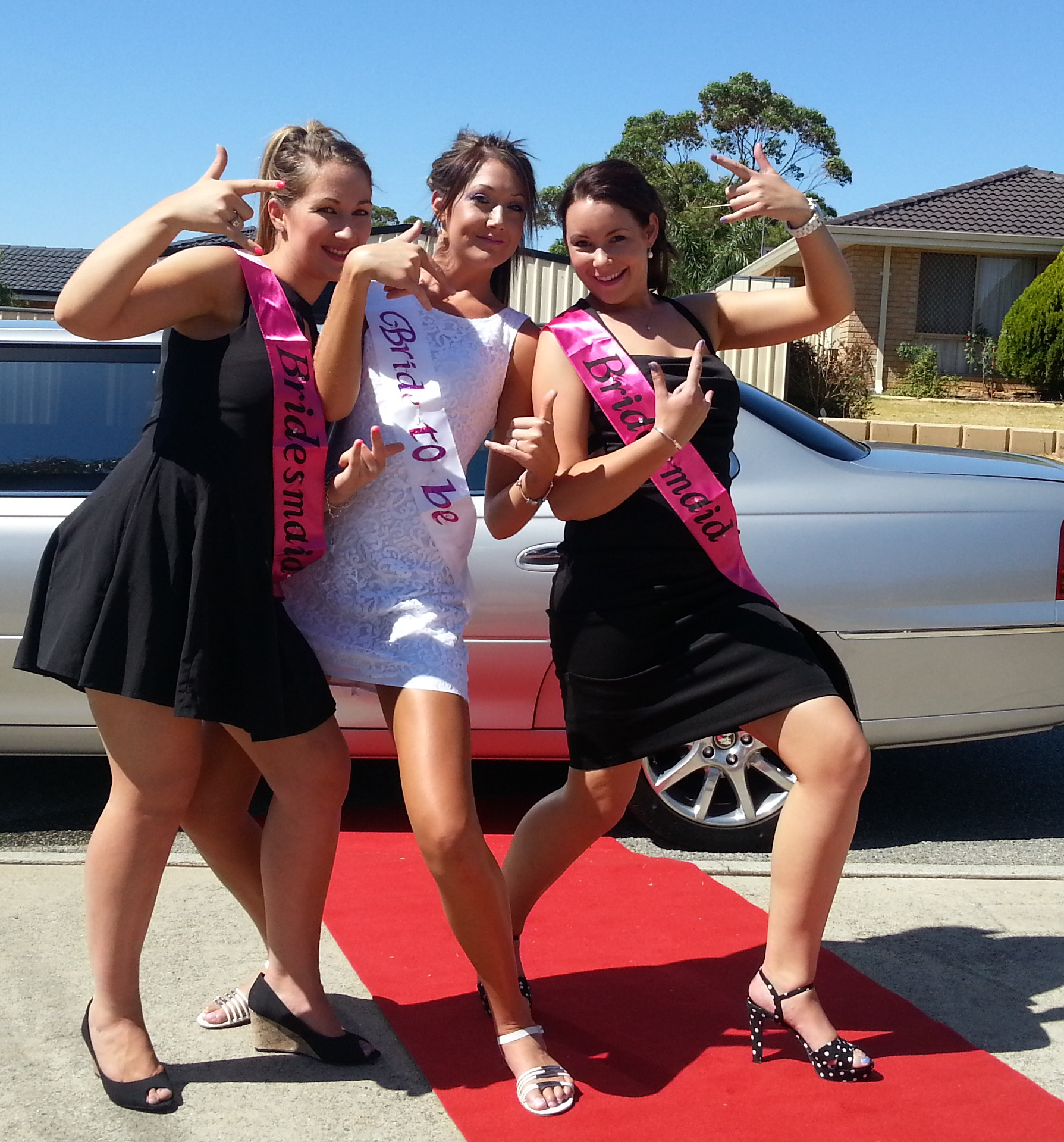 Wedding limousine hire Perth helping these lovely ladies celebrate Courtney's upcoming wedding. Perth Limo Hire also celebrates school balls and winery tours