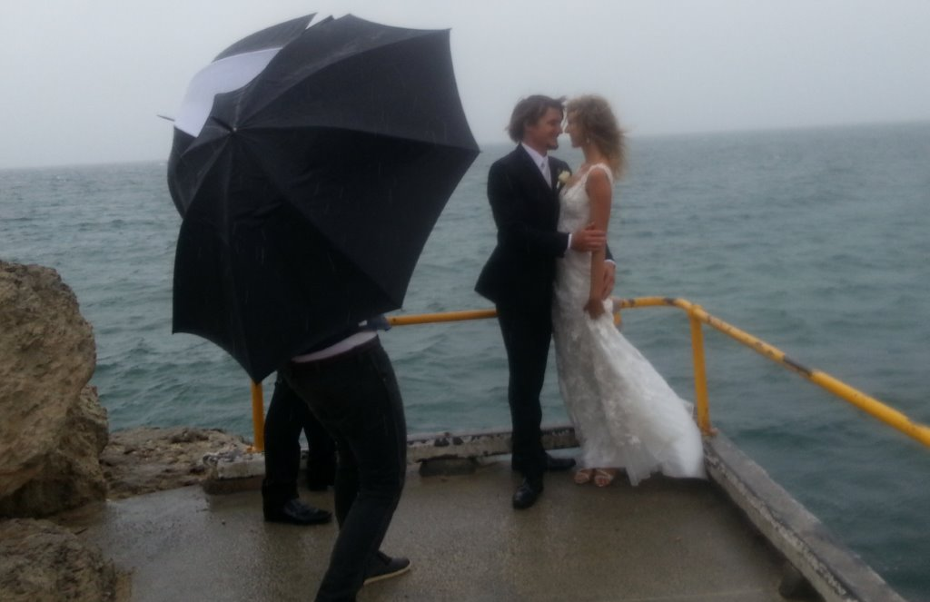 Wedding day weather embraced by these great fun loving couple